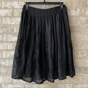 French Connection Black Beaded Skirt Size 0